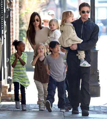 Angelina Jolie and Brad Pitt take their WHOLE family out for a walk in New Orleans