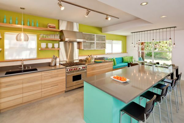 turquoise-kitchen-desk-with-black-chairs-and-pastel-top